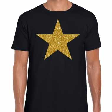 Gouden ster glitter fun t shirt zwart heren