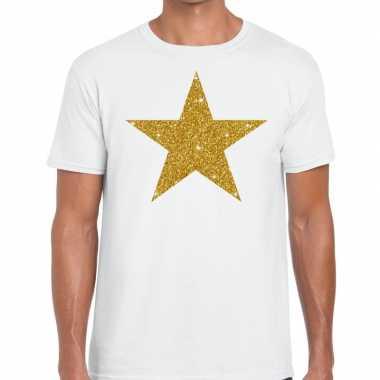 Gouden ster glitter fun t t shirt wit heren