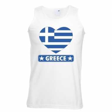 Griekenland hart vlag singlet shirt/ tanktop wit heren