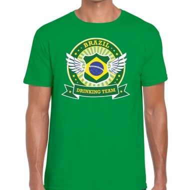 Groen brazil drinking team t shirt heren