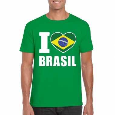 Groen i love brazilie fan shirt heren