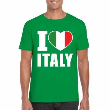 Groen i love italie fan shirt heren