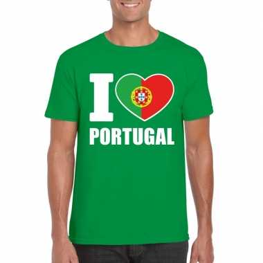 Groen i love portugal fan shirt heren