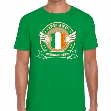 Groen ireland drinking team t shirt heren
