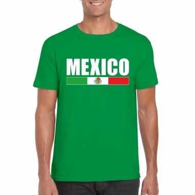 Groen mexico supporter t shirt heren