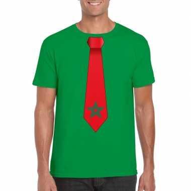 Groen t shirt marokko vlag stropdas heren