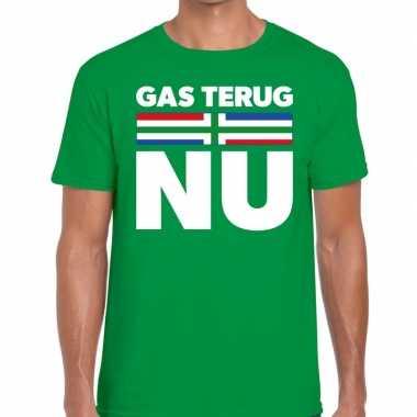 Groningen protest t shirt gas terug nu groen heren