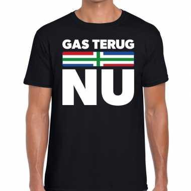 Groningen protest t shirt gas terug nu zwart heren