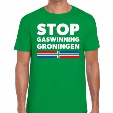 Groningen protest t shirt stop gaswinning groningen groen h