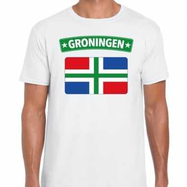 Groningen vlag t shirt wit heren