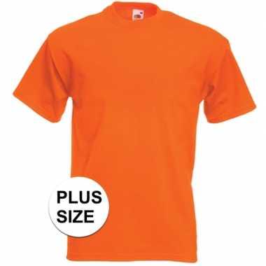 Grote maten basic oranje t shirt heren
