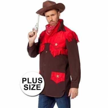 Grote maten cowboy verkleed shirt heren