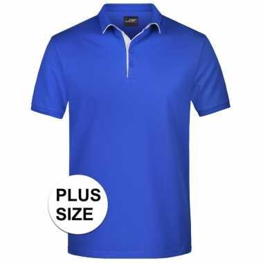 Grote maten polo shirt golf pro premium blauw/wit heren