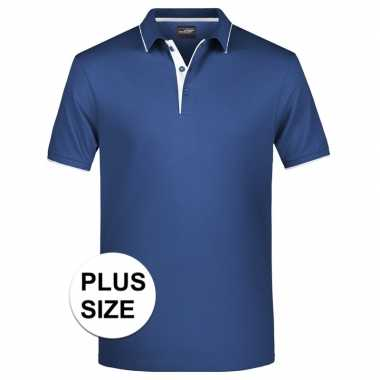 Grote maten polo shirt golf pro premium navy/wit heren