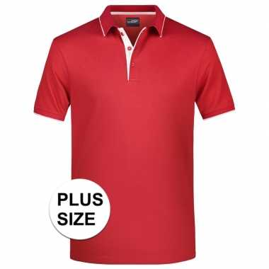 Grote maten polo shirt golf pro premium rood/wit heren
