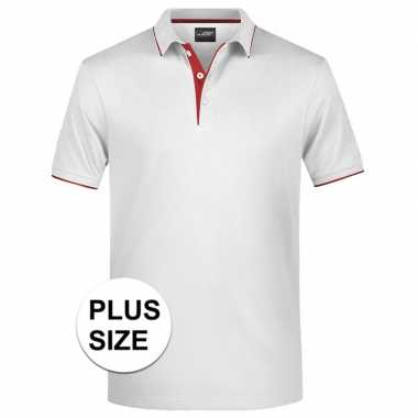Grote maten polo shirt golf pro premium wit/rood heren