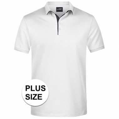 Grote maten polo shirt golf pro premium wit/zwart heren