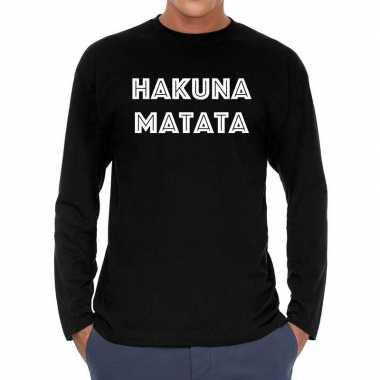 Hakuna matata long sleeve t shirt zwart heren
