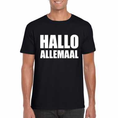 Hallo allemaal tekst t-shirt zwart heren