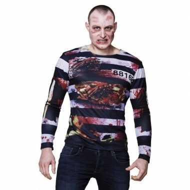 Halloween heren shirt zombie gevangene opdruk