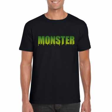 Halloween monster tekst t shirt zwart heren