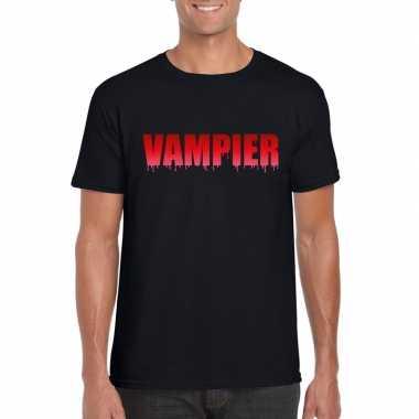 Halloween vampier tekst t-shirt zwart heren
