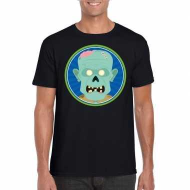 Halloween zombie t shirt zwart heren