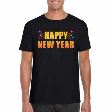 Happy new year t shirt zwart heren