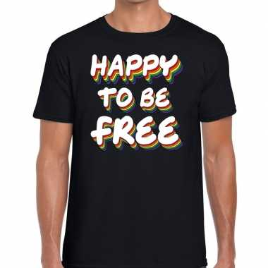 Happy to be free gaypride t shirt zwart heren