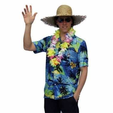 Hawaii shirt blauw palmbomen