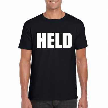 Held tekst t shirt zwart heren