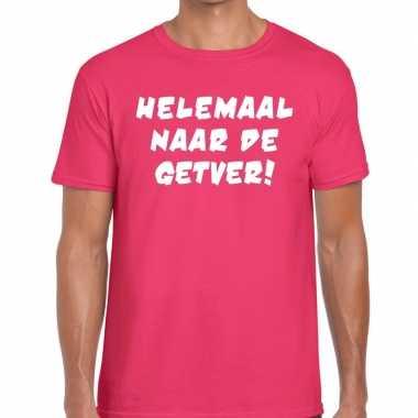 Helemaal naar getver t shirt roze heren