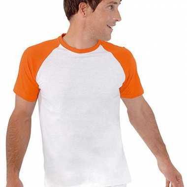 Heren baseball t shirt oranje