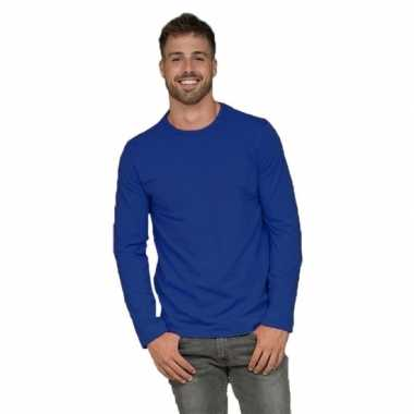 Heren shirt kobalt lange mouwen
