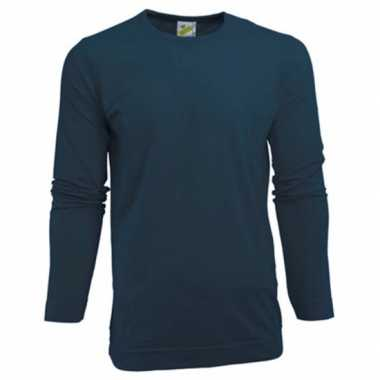Heren shirt navy lange mouwen