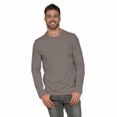 Heren shirt zilvergrijs lange mouwen