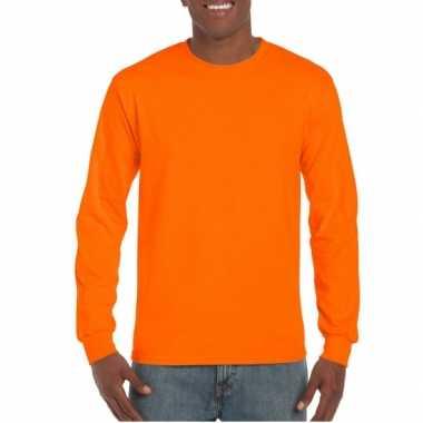 Heren t-shirt lange mouw fluor oranje