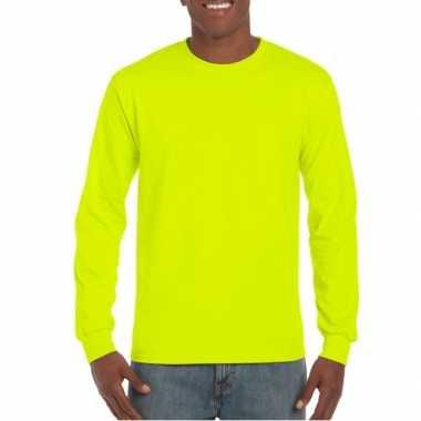 Heren t-shirt lange mouw lichtgevend geel
