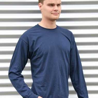 Heren t-shirt lange mouw navy