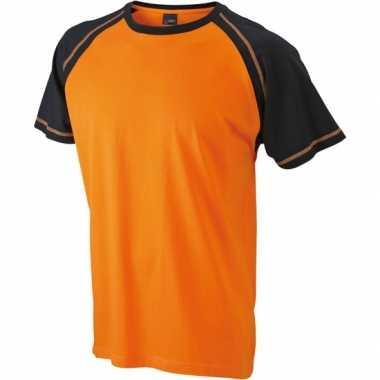 Heren t shirt oranje/zwart