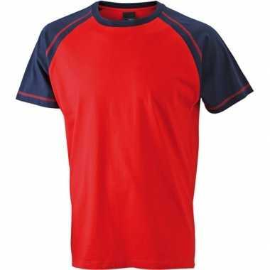 Heren t shirt rood/navy