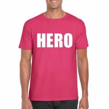 Hero tekst t shirt roze heren