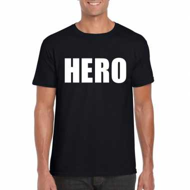 Hero tekst t shirt zwart heren