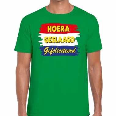 Hoera geslaagd gefeliciteerd t shirt groen heren