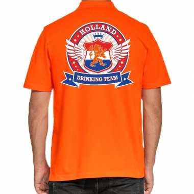 Holland drinking team poloshirt oranje heren