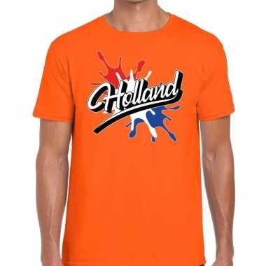 Holland t shirt spetter oranje heren