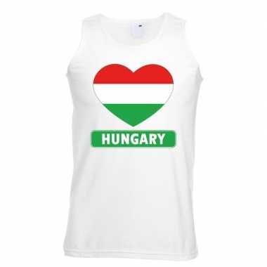 Hongarije hart vlag singlet shirt/ tanktop wit heren