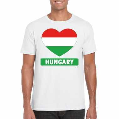 Hongarije hart vlag t shirt wit heren