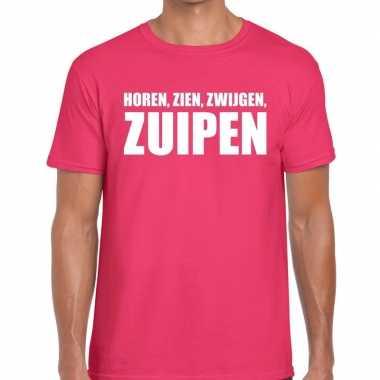 Horen zien zwijgen zuipen t shirt roze heren