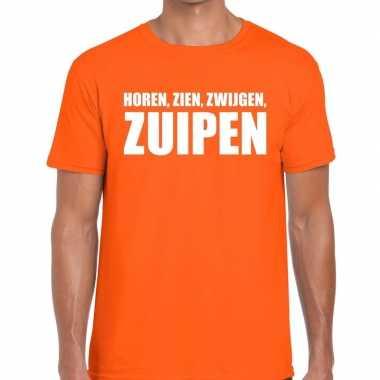 Horen zien zwijgen zuipen tekst t shirt oranje heren